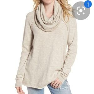 FP beach one size cowl neck pullover neutral